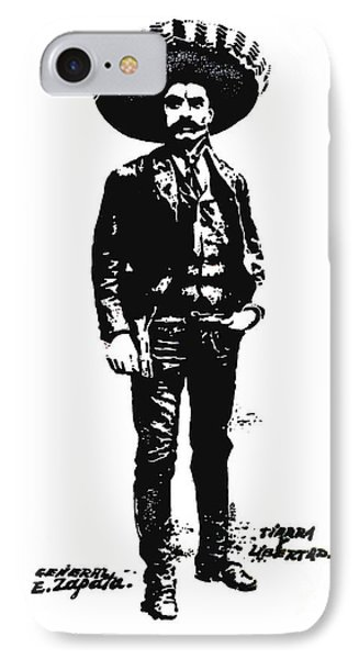 IPhone Case featuring the drawing Emiliano Zapata by Antonio Romero