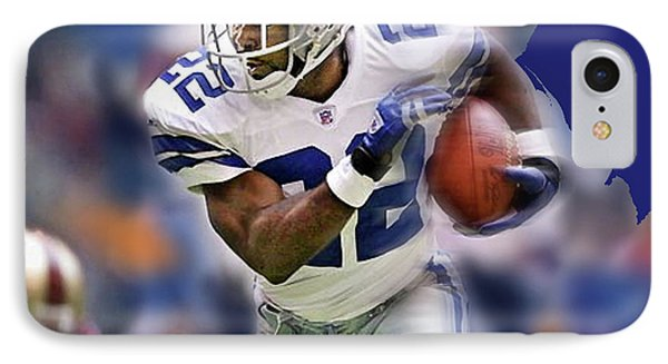 Emmit Smith, Number 22, Running Back, Dallas Cowboys. IPhone Case by Thomas Pollart