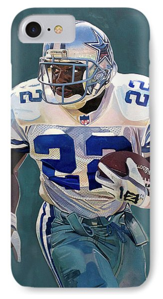 Emmitt Smith - Dallas Cowboys IPhone Case by Michael  Pattison