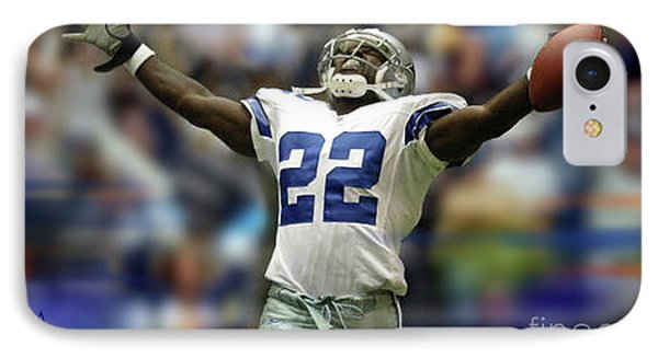 Emmitt Smith, Number 22, Running Back, Dallas Cowboys IPhone Case by Thomas Pollart