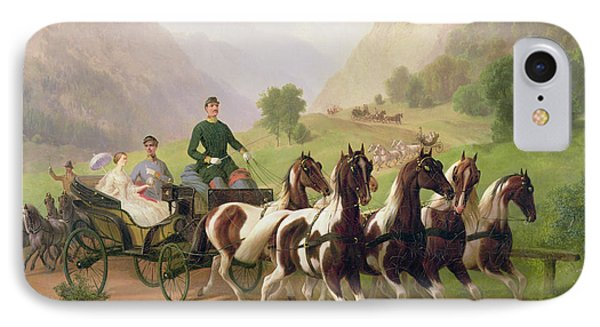 Emperor Franz Joseph I Of Austria Being Driven In His Carriage With His Wife Elizabeth Of Bavaria I Phone Case by Austrian School