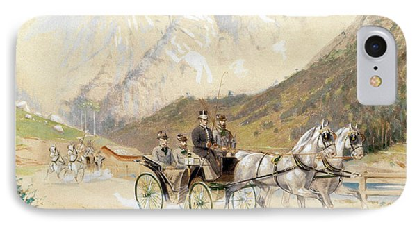 Emperor Franz Joseph I With Crown Prince Rudolf On A Carriage Journey In The Salzkammergut IPhone Case