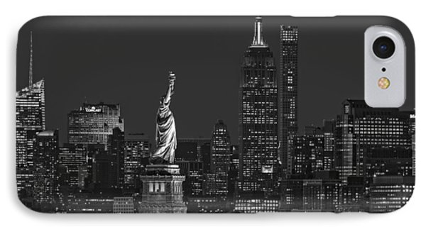 IPhone Case featuring the photograph Empire State And Statue Of Liberty II Bw by Susan Candelario