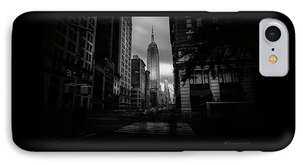 IPhone Case featuring the photograph Empire State Building Bw by Marvin Spates