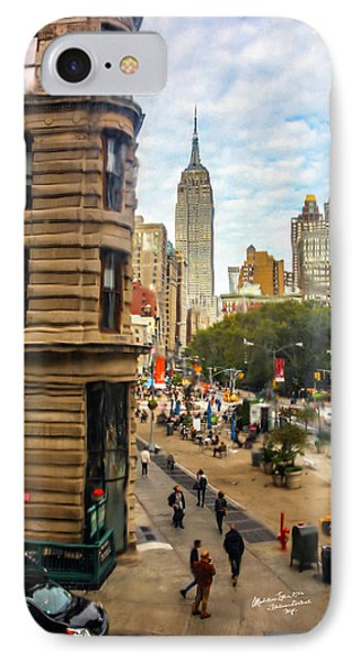 IPhone Case featuring the photograph Empire State Building - Crackled View 3 by Madeline Ellis