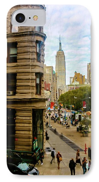 IPhone Case featuring the photograph Empire State Building - Crackled View by Madeline Ellis