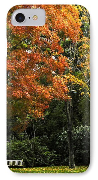 Empty Bench In The Park IPhone Case by Carol F Austin