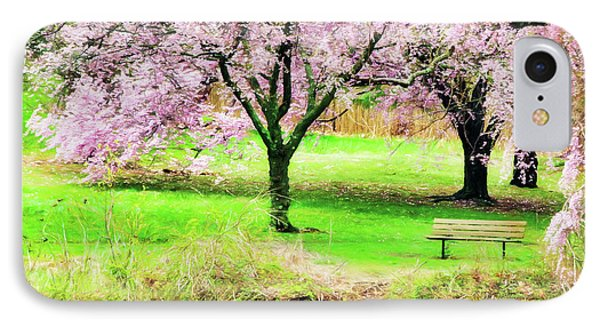 IPhone Case featuring the photograph Empty Bench Surrounded By Spring Colors by Gary Slawsky