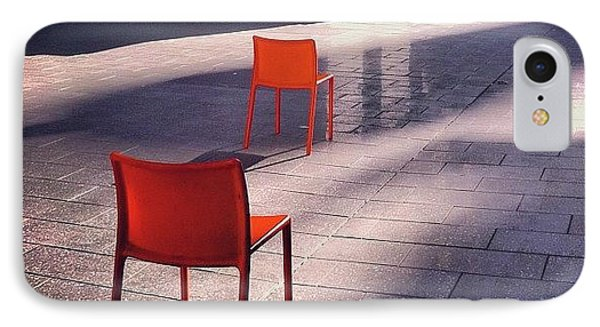 Empty Chairs At Mint Plaza IPhone Case by Julie Gebhardt
