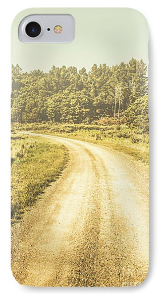Empty Curved Gravel Road In Tasmania, Australia IPhone Case by Jorgo Photography - Wall Art Gallery