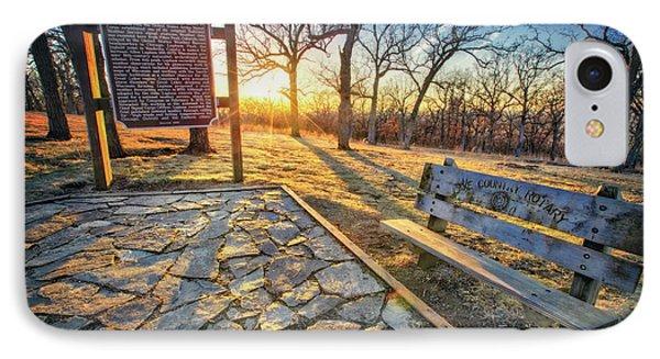 Empty Park Bench - Sunset At Lapham Peak IPhone Case by Jennifer Rondinelli Reilly - Fine Art Photography
