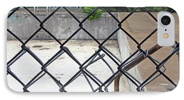 Empty Swimming Pool Behind Barbed Wire IPhone Case