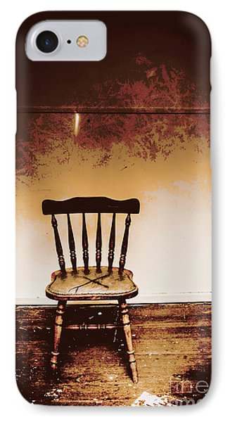 Empty Wooden Chair With Cross Sign IPhone Case by Jorgo Photography - Wall Art Gallery