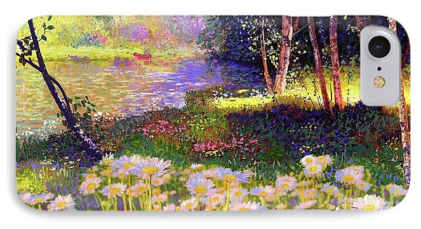 Enchanted By Daisies, Modern Impressionism, Wildflowers, Silver Birch, Aspen IPhone Case by Jane Small