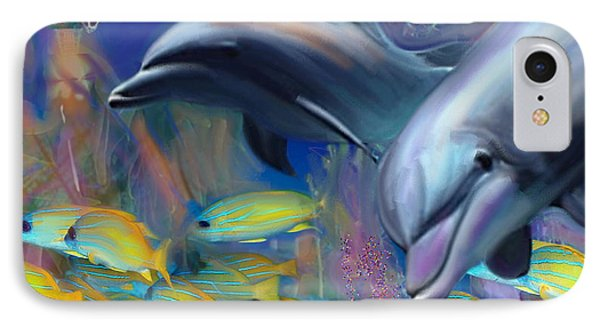 Enchanted Dolphins IPhone Case by Julianne Ososke