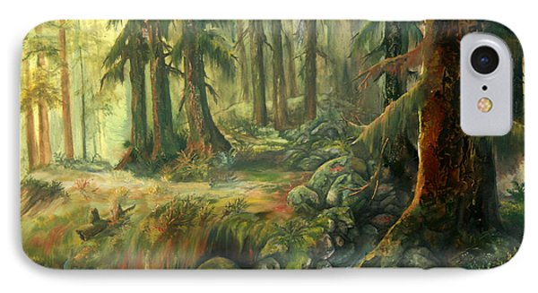 IPhone Case featuring the painting Enchanted Rain Forest by Sherry Shipley