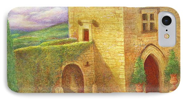 IPhone Case featuring the painting Enchanting Fairytale Chateau Landscape by Judith Cheng