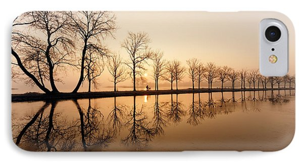 Endlessness - Silhouette Reflected On An Early Morning Sunrise IPhone Case by Roeselien Raimond