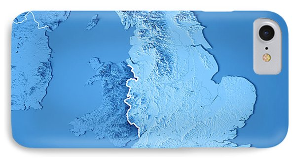 England Country 3d Render Topographic Map Blue Border IPhone Case