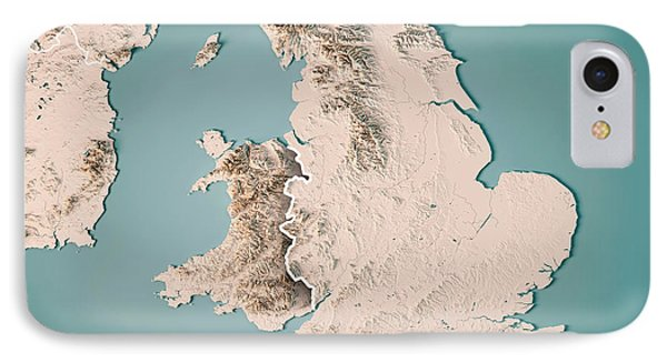 England Country 3d Render Topographic Map Neutral Border IPhone Case