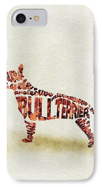 IPhone Case featuring the painting English Bull Terrier Watercolor Painting / Typographic Art by Ayse and Deniz