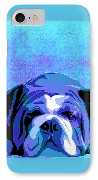 English Bulldog Animal Blue Decorative Wall Poster 3 - By Diana Van  IPhone Case
