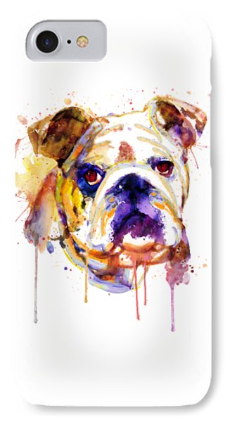 IPhone Case featuring the mixed media English Bulldog Head by Marian Voicu