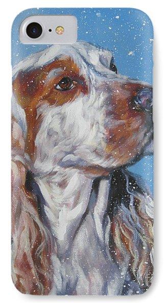 English Cocker Spaniel In Snow Phone Case by Lee Ann Shepard