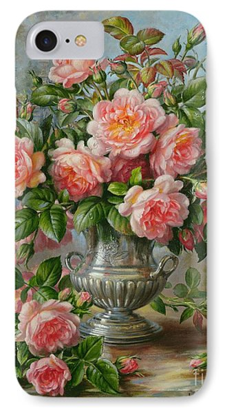 English Elegance Roses In A Silver Vase Phone Case by Albert Williams