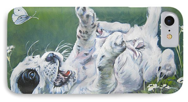 Cabbage iPhone 7 Case - English Setter Puppy And Butterflies by Lee Ann Shepard