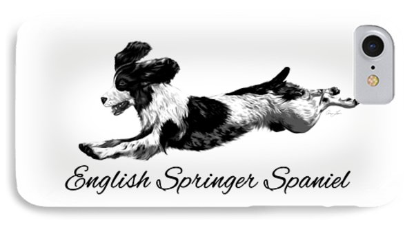 IPhone Case featuring the digital art English Springer Spaniel by Ann Lauwers