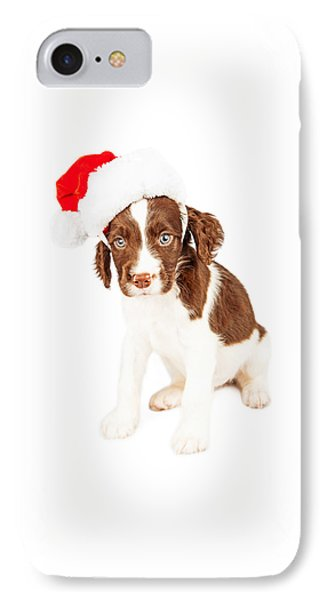 English Springer Spaniel Santa Puppy IPhone Case