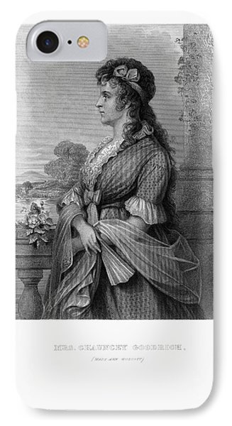 Engraved Portrait Of Mrs. Chauncey Goodrich, Mary Wolcott, Circa 1790 IPhone Case by Peacock Graphics