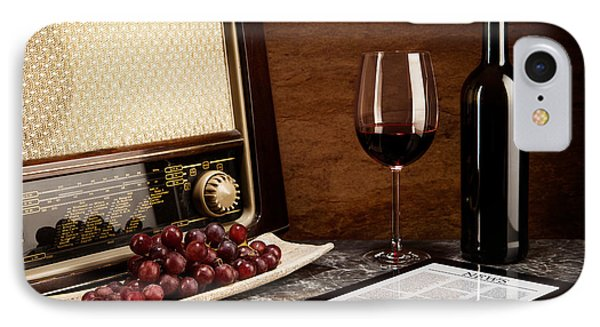 Enjoying Wine With Old Music And Modern Technology IPhone Case by Wolfgang Steiner
