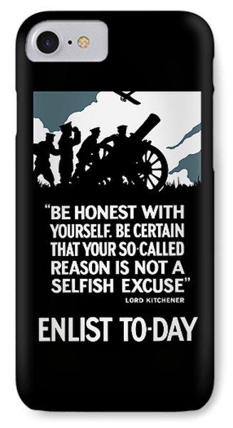 Enlist To-day - Lord Kitchener  Phone Case by War Is Hell Store