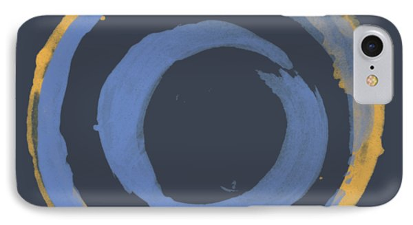 IPhone Case featuring the painting Enso T Blue Orange by Julie Niemela