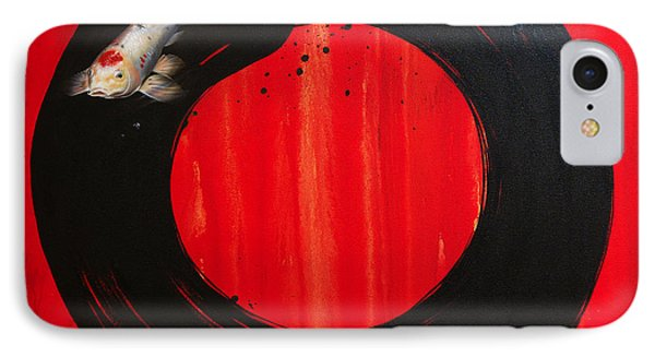 Enso With Koi Red And Gold IPhone Case by Sandi Baker