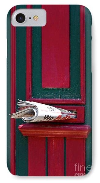 Entrance Door And Newspaper Phone Case by Heiko Koehrer-Wagner