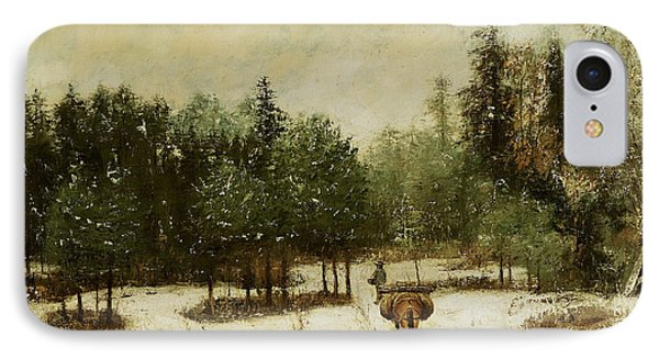 Entrance To The Forest In Winter IPhone Case by Cherubino Pata