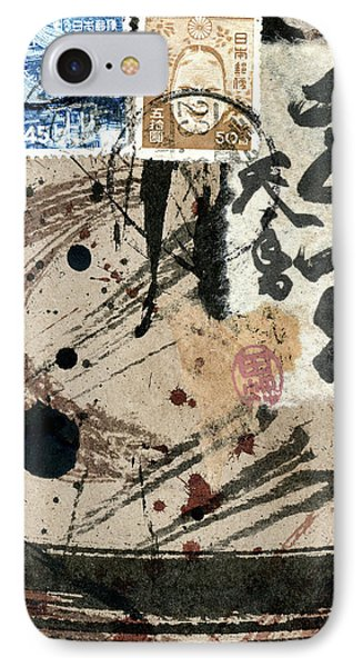 IPhone Case featuring the mixed media Envelope Collage With Japanese Postage Stamps by Carol Leigh