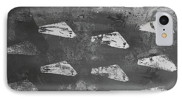 IPhone Case featuring the painting Eoliths Grayscale by Robin Maria Pedrero