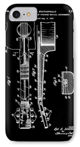 Epiphone Guitar Patent 1939 Black IPhone Case by Bill Cannon