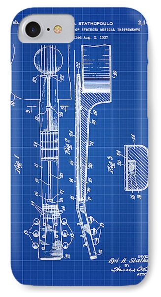 Epiphone Guitar Patent 1939 Blue Print IPhone Case by Bill Cannon
