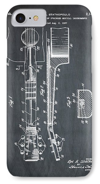 Epiphone Guitar Patent 1939 Chalk IPhone Case by Bill Cannon