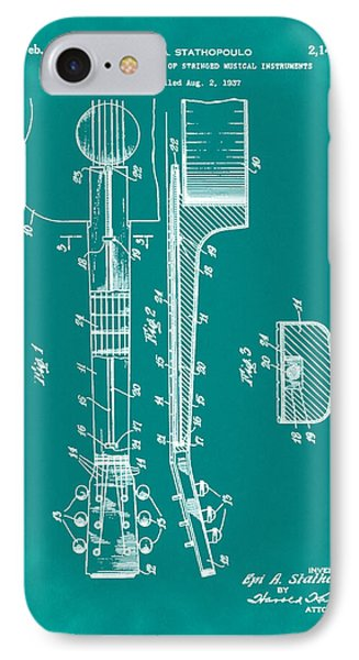 Epiphone Guitar Patent 1939 Green IPhone Case by Bill Cannon