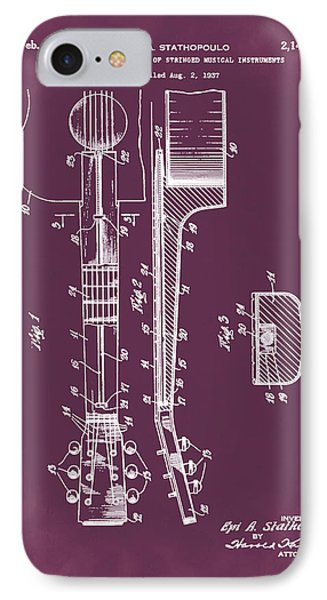 Epiphone Guitar Patent 1939 Red IPhone Case by Bill Cannon