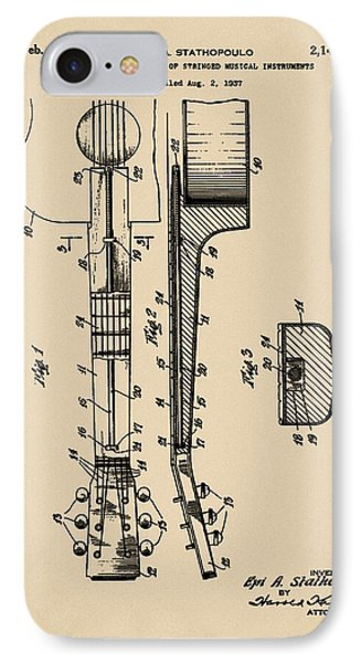Epiphone Guitar Patent 1939 Sepia IPhone Case by Bill Cannon