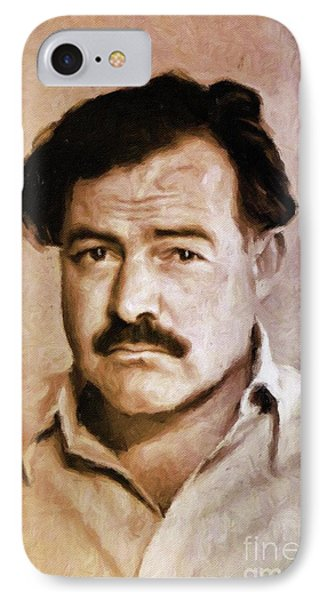 Ernest Hemingway, Literary Legend By Mary Bassett IPhone Case by Mary Bassett