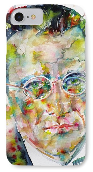 IPhone Case featuring the painting Erwin Schrodinger - Watercolor Portrait by Fabrizio Cassetta