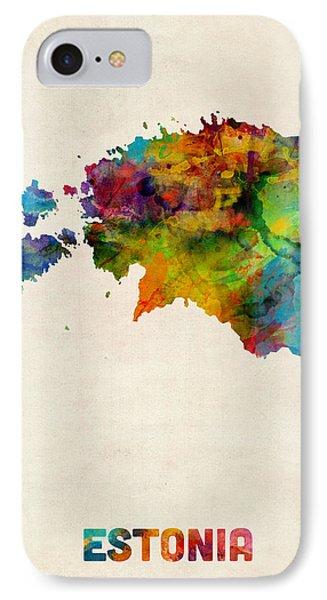 Estonia Watercolor Map IPhone Case